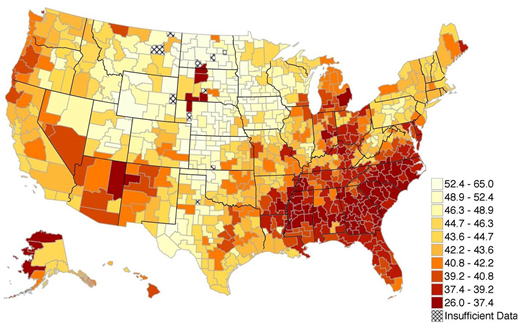 Notes This Map Shows The Average Percentile Rank Of Children Who Grow Up In Below Median Income Families Across Areas Of The Us Absolute Upward Mobility